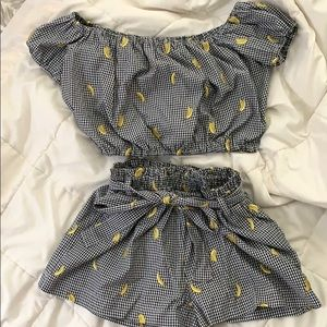 Two-piece off the shoulder banana set